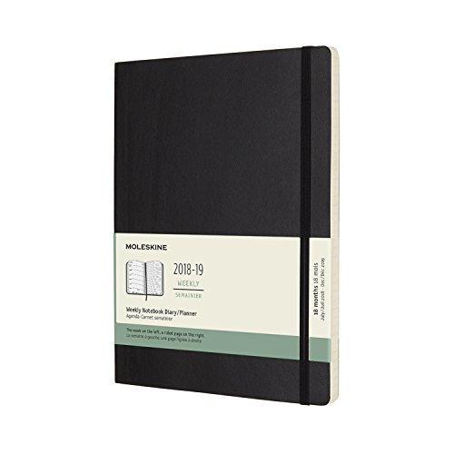 Moleskine. 18 month weekly notebook. XL black soft cover