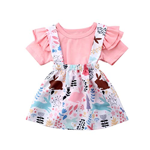 Baby T-Shirt Strap Kleid Weihnachten Outfits 2 Teile/Satz Kleinkind Mädchen Langarm Rüschen Top Overall Plaid Rock Kleidung Set (3-4 Jahre) (6-12 Monate, Rosa) -