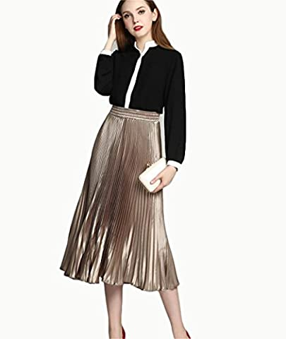 NN Solid Color Light Silk Pleated Skirt Pleated Skirt , Champagne , ,champagne