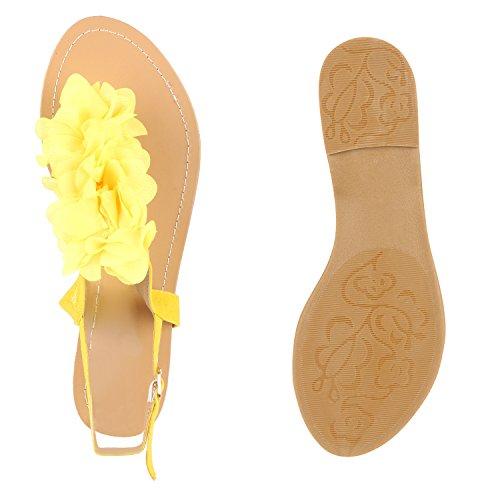 Damen Zehentrenner Blumen Sandalen Glitzer Sommer Schuhe Gelb