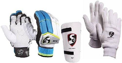 SG Combo von Zwei, One Paar 'Elite' (Leicht) Batting Handschuhe, One 'Test' Elbow Guard und One Paar 'Tournament' Innen Handschuhe (Herren) Cricket Kit