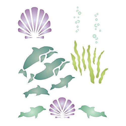 Dolphin Schablone-wiederverwendbar Schablonen für Malerei-Beste Qualität Wand Art Decor Ideen-Verwendung für Sammelalben, Wände, Böden, Stoffe, Glas, Holz, Karten, und mehr... L weiß -