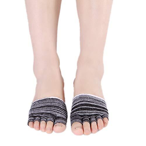Asien Die Hälfte Fuß Palm Frauen Fünf-Zehen-Socken Ladies Open Toe Unsichtbare Boots-Low Cut Socken Schwarz