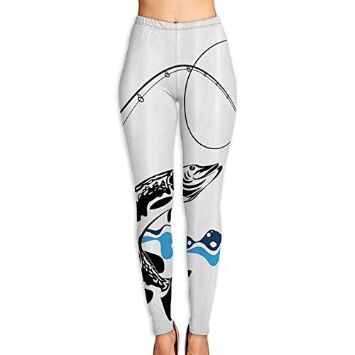 WBinHua Yoga & Pilates-Hosen für Damen, Big Pike Fish Catching Wobblers Womens Fitness Yoga Leggings Sport Yoga Pants(S-2XL)