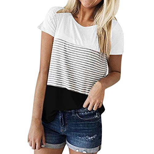TWIFER Kurzärmeliges Gestreiftes T Shirt Damen Kurzarm Triple Color Block Stripe T Shirt Lässige Bluse