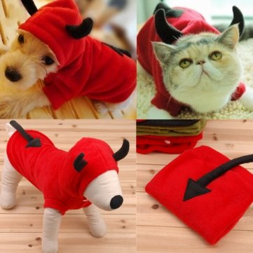 Kohle Kostüm - Haustier Hund Katze Fancy Teufel Kostüme Puppy Coat Hoodie Jumpsuit