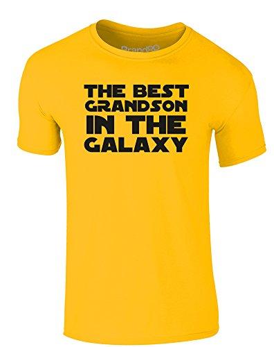 Brand88 - The Best Grandson in the Galaxy, Erwachsene Gedrucktes T-Shirt Gänseblümchen-Gelb/Schwarz