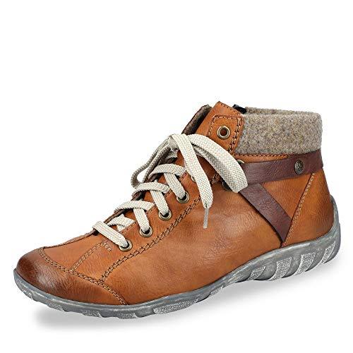 Rieker Damen Schnürstiefelette L6527,Frauen Stiefel,Boots,Halbstiefel,Schnürboots,Bootie,flach,Blockabsatz 2.7cm,Einlegesohle,Cayenne/Brandy/Wood, EU 39