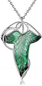 Collana da Donna e Uomo - Spilla Elfica - Foglia di Edera - Lorien - Lothlorien - Brooch Leaf - Film - Serie TV - Elfi - Colore Argento