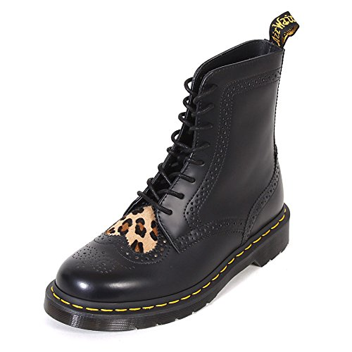 Dr Martens Women's Bentley II Heart Leather Boot Black/Medium Leopard Size 5 (Medium Leopard)