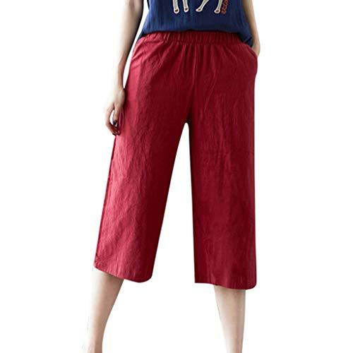 Hose Casual Elegant Einfarbig Lose Mittlere Taille Sommer Wadenlange Hose mit Taschen ()