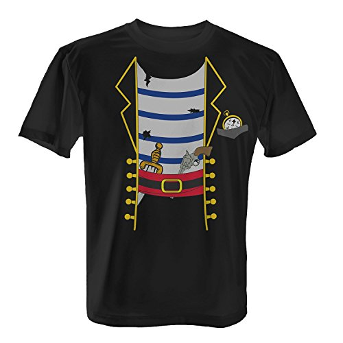 Kostüm Schwarz Shirt Pirat - Fashionalarm Herren T-Shirt - Piraten Kostüm | Fun Shirt als Verkleidung für Karneval & Fasching, Farbe:schwarz;Größe:5XL
