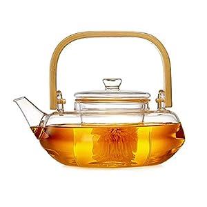 ZHAOJING Théière en verre Ménage, Filtre résistant à la chaleur Thé Bouilloire Chauffe Thé Pot Transparent 800ml