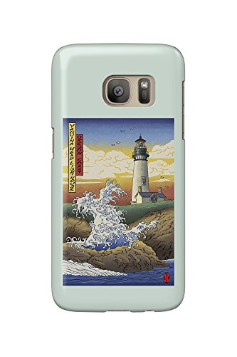 Oregon Coast - Yaquina Head Lighthouse - Woodblock Print (Galaxy S7 Cell Phone Case, Slim Barely There) (Head Yaquina)
