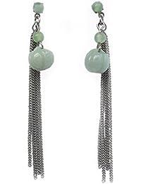 Pendientes en acero, Birmania Jade, cadena en acero.
