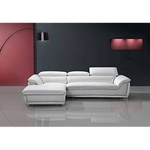 Speedy Pet Picasso Corner Sofa ICE WHITE Leather Chaise