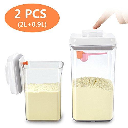 Luftdichte Milchpulver-Spender - BPA-freie Milchpulver-Behälter Tragbare Lebensmittelvorratsbehälter - Milchpulver Trockenfutter für Arthritis-Hand - 2er Pack (AS 2L+0.9L)