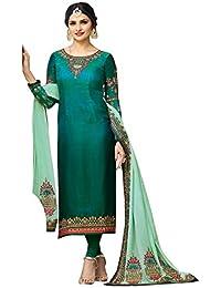 Stylish Fashion Prachi Desai Turquoise Embroidered Designer Party Wear Straight Salwar Suit With Designer Dupatta