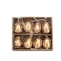 Design semplice ma efficace con una combinazione di colore oro e crema rende queste decorazioni per uova di Pasqua perfette per qualsiasi casa. 10 cm.