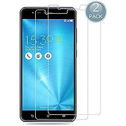 E-Hamii [2-Pack Protection d'écran Compatible avec ZenFone 3 Zoom ZE553KL,9H Protection en Verre trempé,Premium 2.5D Double Defense Series,[Anti-Traces de Doigts et Anti-Rayures][sans Bulle]