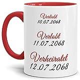 Tassendruck Hochzeits-Tasse Verliebt, Verlobt, Verheiratet - Partner-Tasse/Hochzeits-Geschenk/eigenes Datum/Individuell / Selbst Gestalten/Innen & Henkel Rot