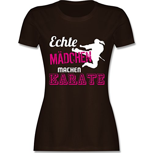 Kampfsport - Echte Mädchen Machen Karate - XXL - Braun - L191 - Damen T-Shirt Rundhals