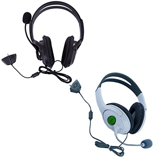 Price comparison product image HDE Xbox 360 Headset Game Chat Xbox Live Headphone with Microphone - 2 Pack (Black & White)
