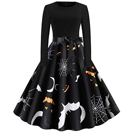 Spinnennetz Frauen Kostüm - Luckydlc Scary Kostüme Frauen Sexy Lässig Langärmeliges Kleid Rundhals Spinnennetz Fledermaus Drucken Halloween-Party Kostüm Dekoration luckydlc (Color : Black, Size : L)