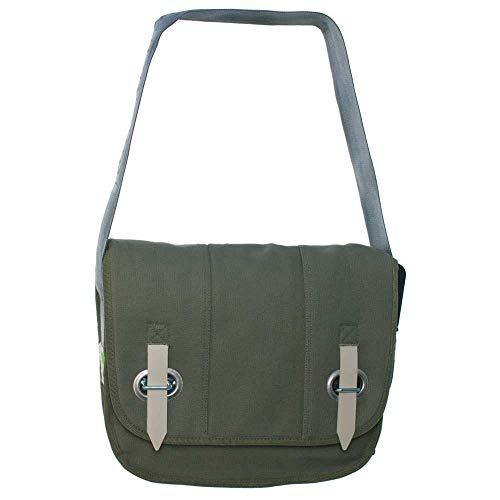 HAB & GUT -E3026A-O- Big Bag-PROVOKED, Messenger en Toile Canvas avec Fermeture œillet et Sangle Vert Olive 35 x 30 cm