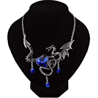 Yunfeng Women Necklace Pendant Fashion Heart-Shaped Sapphire Dragon Animal Alloy Circumference: 50cm+5cm Best Gifts