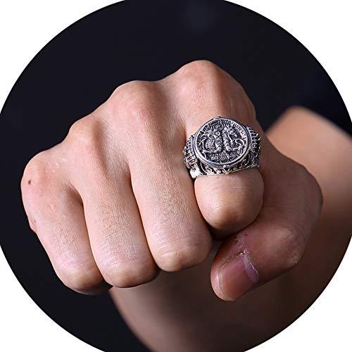 J.Memi's Herren Ring 925 Sterling Silber Ägyptischen Pharao Schmuck Weihnachten Jubiläum, Einstellbar,Silver (Herren-diamant-jubiläum-band)