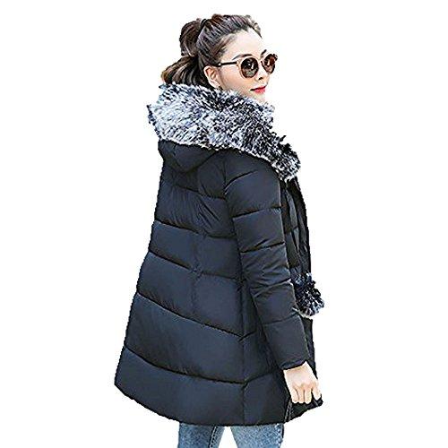 Hoodie Damen Sunday Frauen Reißverschluss Tasche Dicker Winter Schlank Unten Lammy Jacke Haarkragen Einfarbig Mantel (Schwarz, 3XL) (Mäntel Für Frauen, Fell-kapuze Unten)
