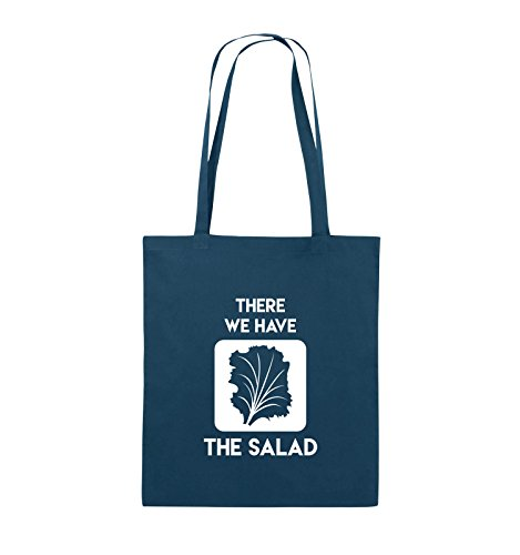Comedy Bags - THERE WE HAVE THE SALAD - Jutebeutel - lange Henkel - 38x42cm - Farbe: Schwarz / Pink Navy / Weiss