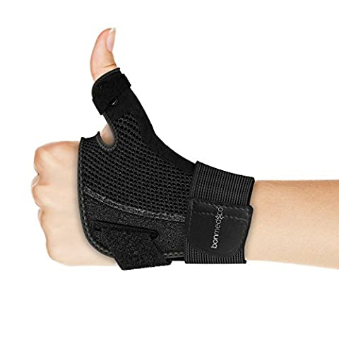 Bonmedico® Forte – Orthèse de pouce souple avec attelle, support pour protection de l'articulation métacarpophalangienne et de la racine du pouce, pour activités quotidiennes et sportives, traitement régénératif des blessures du pouce ou de l'arthrose, pour homme et femme, main gauche ou