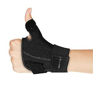 bonmedico Forte Flexible Daumenbandage Für Links & Rechts, Daumenschiene Schützt Sattelgelenk & Daumengrundgelenk, Daumenorthese Für Verletzungen & Sehnenscheidenentzündung, Daumenschutz In Schwarz