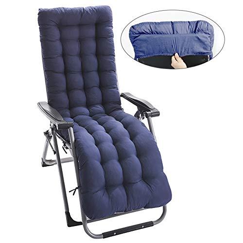 Lovestory cuscino per sdraio lettino universale cuscino imbottito per sedia a sdraio relax con cappuccio antiscivolo 170x53x7cm (blu)