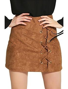 Caliente Las Mujeres Sólido Cintura Alta Falda De Una Linea Vendaje Bodycon Faux Suede