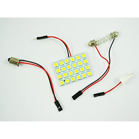 SODIAL(R) Luz de Techo para Coche Blanco 24 LED Panel 5050 SMD + Adaptador Feston T10 BA9S
