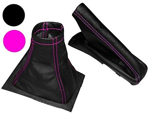 Aerzetix - Satz Schaltsack + Handbremssack Schwarze Farbe 100% echtes Leder pink Nähten