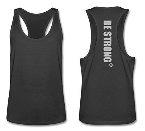 Stringer Tank Top BE STRONG Ash-Schwarz L (Ash T-shirt Baby)