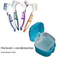 Denture Case, Denture Cup with Strainer Denture Bath Box with Cleaning Brush (Random Color), Deture Bath for Retainer Cleaning (Blue)
