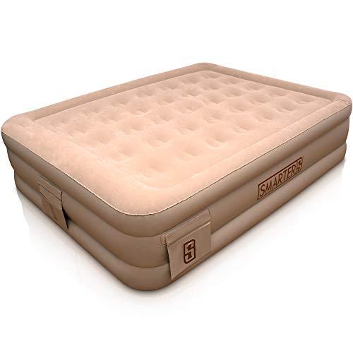SMARTER1® Premium Plus Luftbett für 2 Personen - inklusive Organizer - mit integrierter Pumpe - aufblasbares Bett - Gästebett - selbst aufblasendes Luftbett - Luftmatratze - schneller Auf- & Abbau
