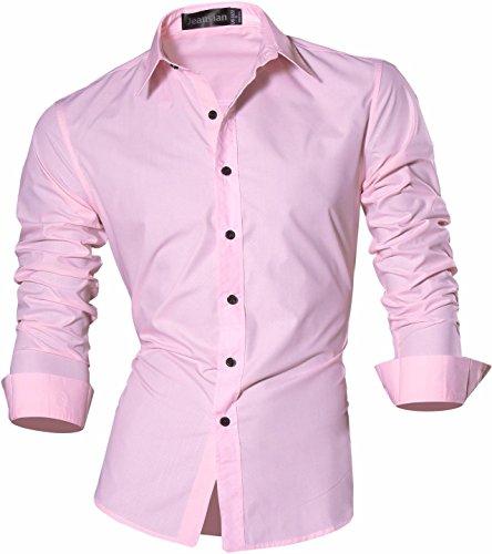 Jeansian uomo camicie un colore solido senza fiori moda abito camicia affari slim casual shirts z029 pink l