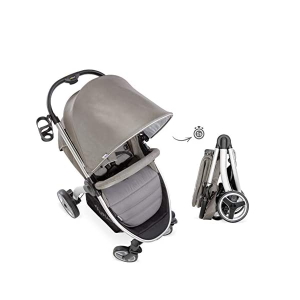 Hauck Lift Up 4, Lightweight Pushchair from Birth to 25 kg, Quick Fold with One Hand with Lying Position, Telescopic, Height-Adjustable Push Handle, Cup Holder, Charcoal Hauck EASY FOLDING - Thanks to its One-Hand-Fold mechanism, this pushchair is folded away within seconds up to a small size. This can be easily transported by the carry strap, leaving one hand free for your little one LONG USE - This buggy can be used over a long period of time as it is suitable from birth thanks to lying position and up to 25 kg. It can also be combined with the hauck Comfort Fix infant car seat + adaptors or hauck 2in1 Carrycot COMFORTABLE - Thanks to backrest and footrest beign adjustable into lying position which is suitable for bigger children, too, as well as large sun hood with UV protection and height-adjustable, telescopic push handle 18