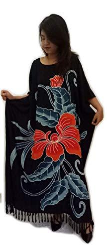 Damen Baumwolle Kaftane (Cool Kaftans - Neu Erstaunlicher Orchideen Blumen Kaftan Kleid Weich)