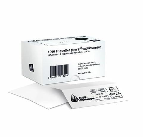 Avery 1000 Etiquettes d'Affranchissement Autocollantes - 165 x (2 x 40) + 25 mm - Blanc (11-829)