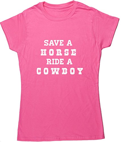 Hippowarehouse Save a Horse Ride a Cowboy Damen Fitted Short Sleeve T-Shirt (bestimmte Größenangaben in der Beschreibung) Gr. XX-Large, Rose (Cowgirl T-shirt Fitted)