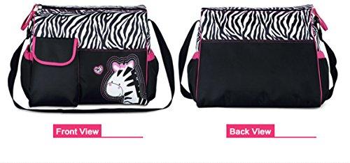 Chilsuessy Babytasche Pflegetasche mit wasserdichter Wickelunterlage Tragetasche Wickeltasche Windeltasche Kinder Baby Reise Tasche, Giraffe Zebra