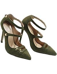 Xianshu Mujeres atractivos hueco hebilla stiletto de tacones altos boca baja solo puntiagudo zapatos bombas