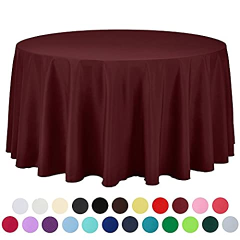 Veeyoo rond rectangulaire carré solide Polyester Mariage Restaurant fête Nappe, Tissu, bordeaux, Round-274 cm